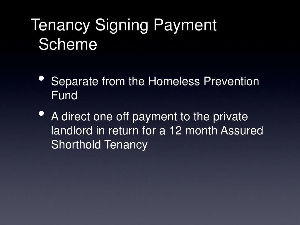 Tenancy Signing Payment Scheme
