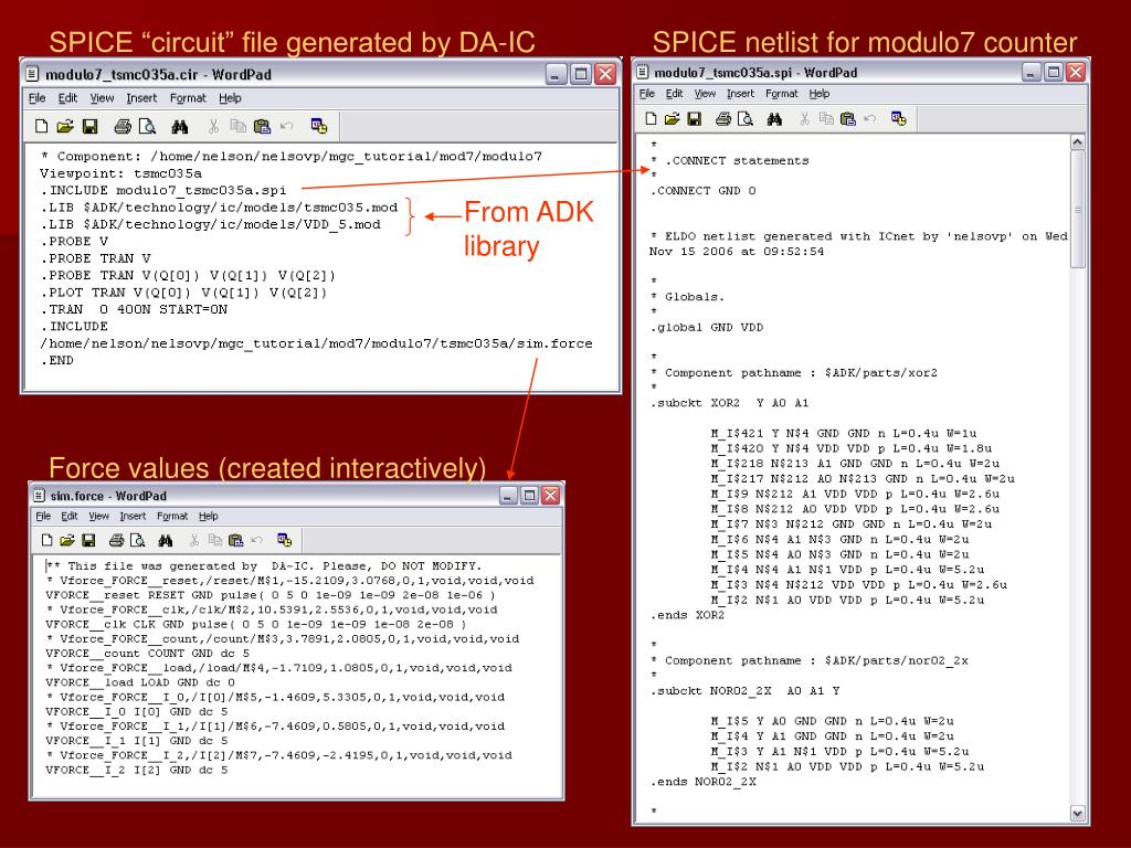 "SPICE ""circuit"" file generated by DA-IC"