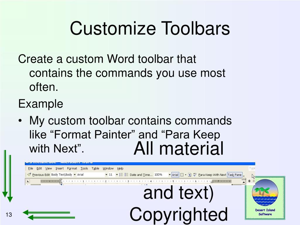 Customize Toolbars