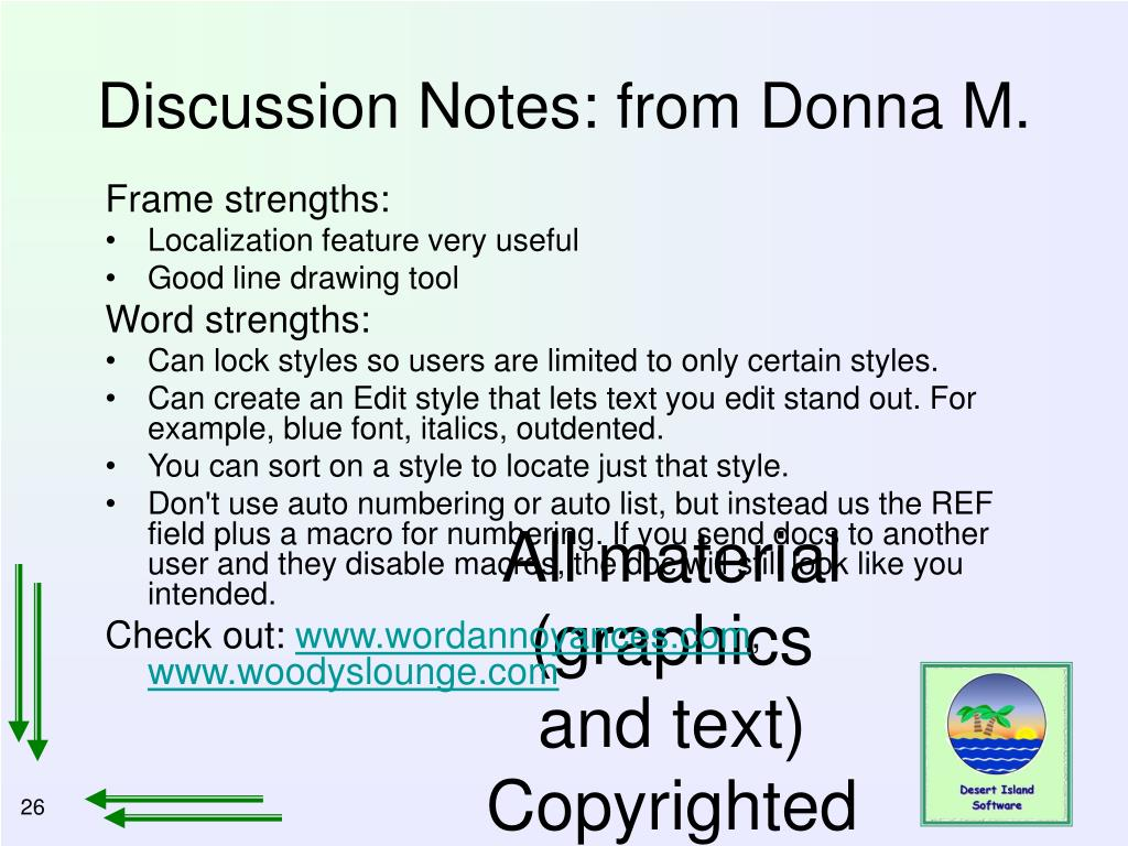 Discussion Notes: from Donna M.