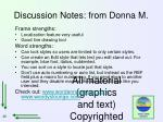discussion notes from donna m
