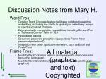discussion notes from mary h