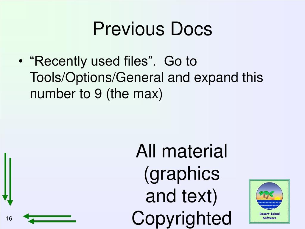 Previous Docs