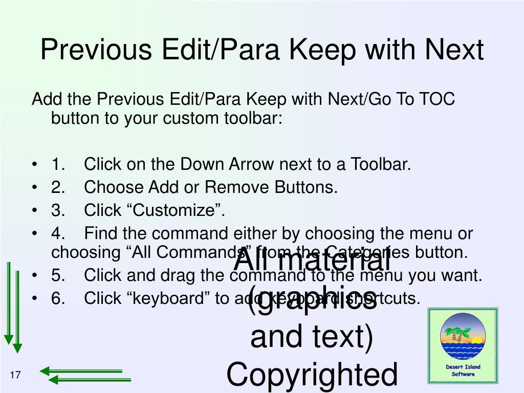 Previous Edit/Para Keep with Next