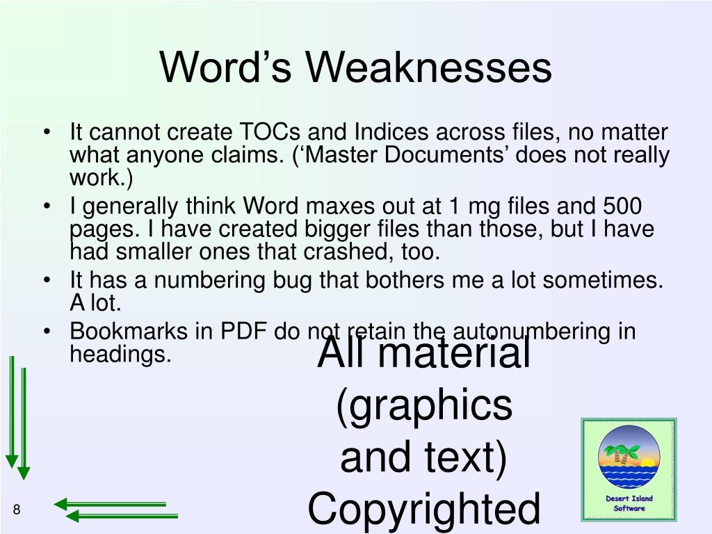 Word's Weaknesses