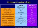 summary of landmark trials