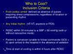 who to cool inclusion criteria