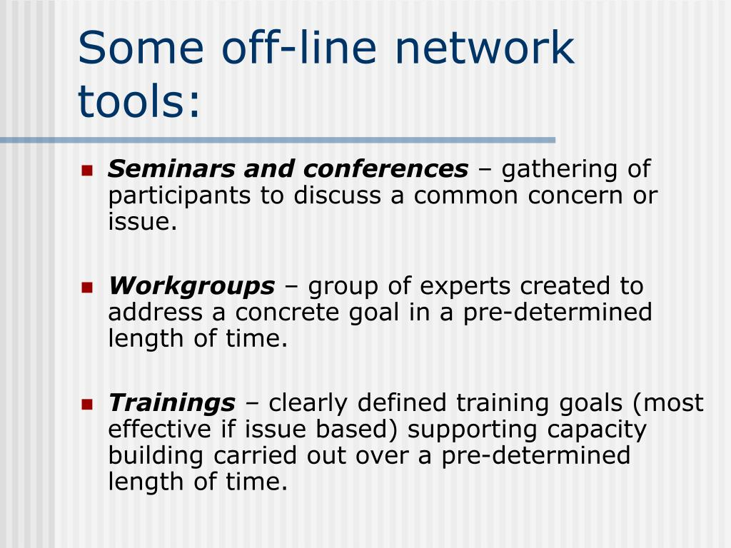 Some off-line network tools: