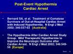 post event hypothermia cardiac arrest