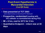 post event hypothermia in myocardial infarction cool mi study