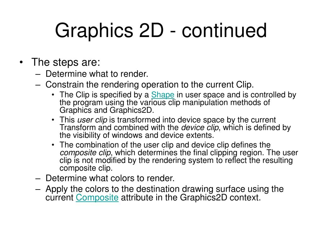 Graphics 2D - continued