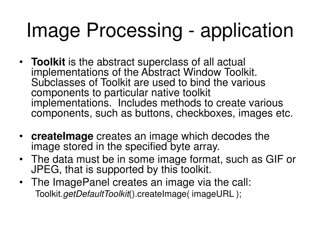 Image Processing - application