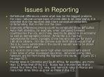 issues in reporting