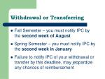withdrawal or transferring