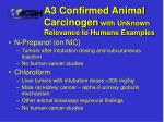 a3 confirmed animal carcinogen with unknown relevance to humans examples