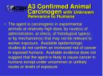 a3 confirmed animal carcinogen with unknown relevance to humans