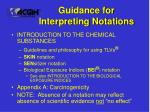 guidance for interpreting notations