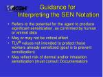 guidance for interpreting the sen notation