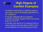 high degree of conflict examples