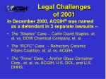 legal challenges of 2001