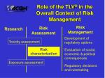 role of the tlv in the overall context of risk management