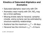 kinetics of saturated aliphatics and aromatics