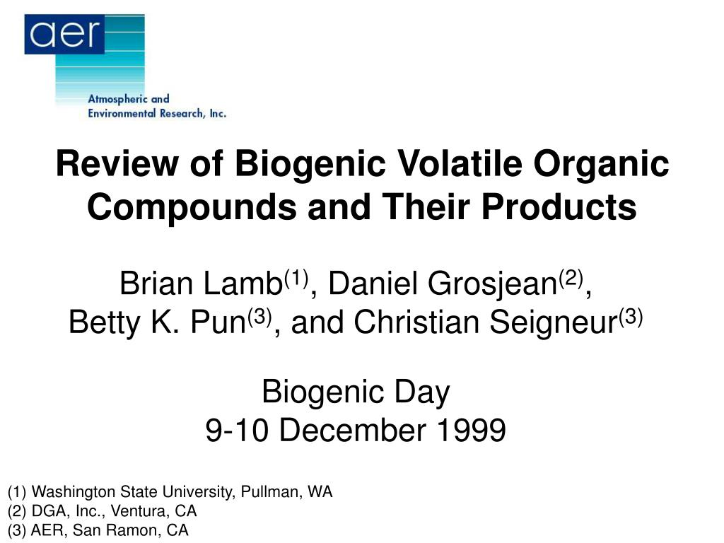 review of biogenic volatile organic compounds and their products l.