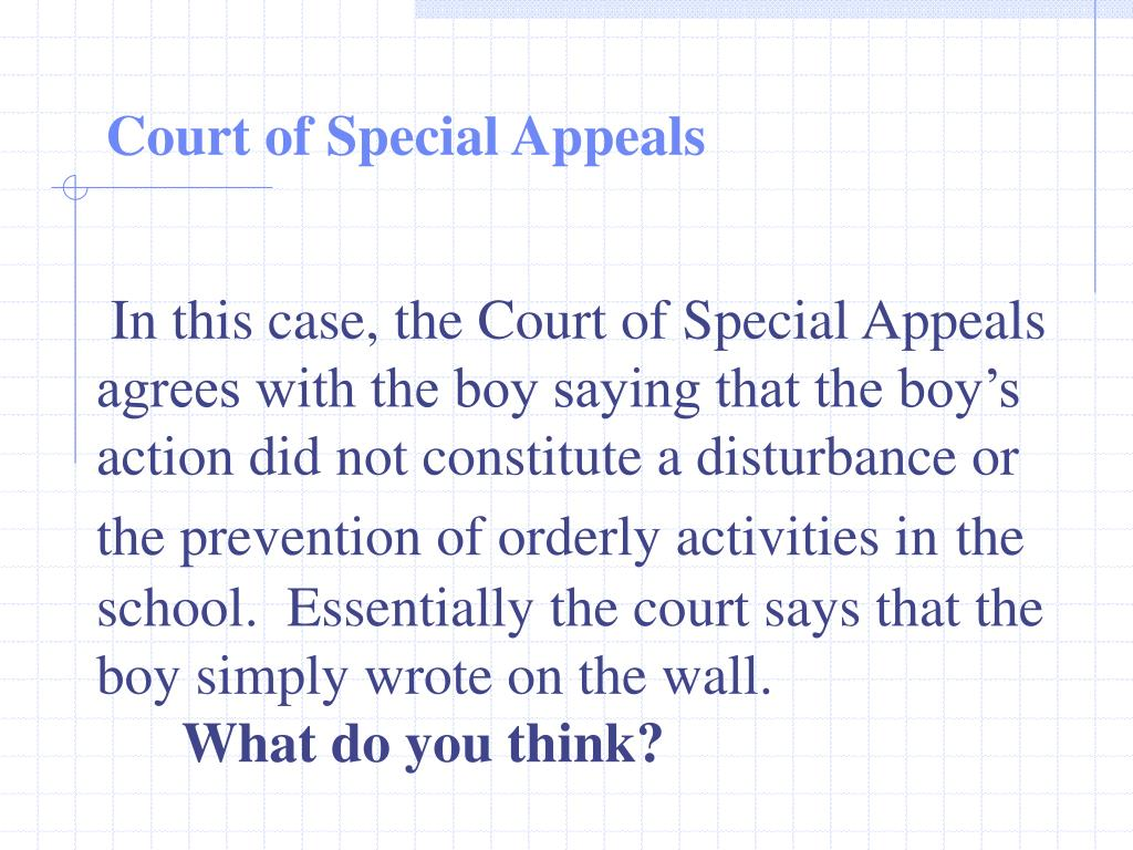 In this case, the Court of Special Appeals agrees with the boy saying that the boy's action did not constitute a disturbance or the prevention of orderly activities in