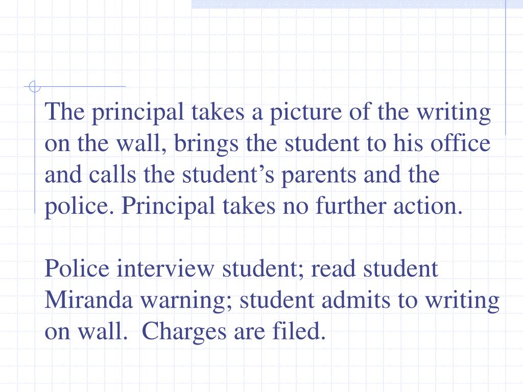 The principal takes a picture of the writing on the wall, brings the student to his office and calls the student's parents and the police.