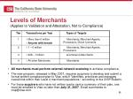 levels of merchants applies to validation and attestation not to compliance
