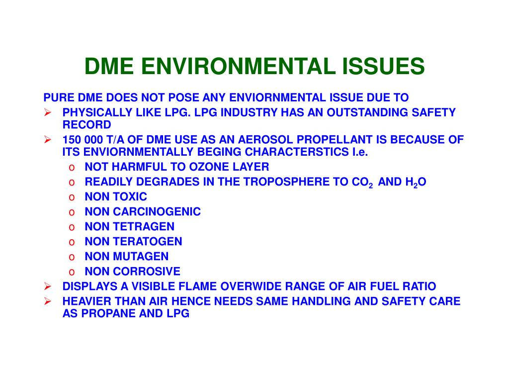 DME ENVIRONMENTAL ISSUES