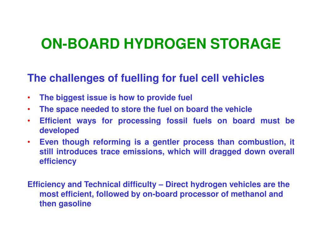 ON-BOARD HYDROGEN STORAGE