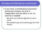 compound sentence continued
