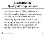 evaluating the quality of hospital care