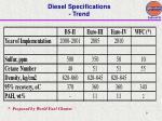 diesel specifications trend