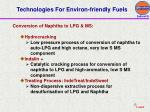 technologies for environ friendly fuels