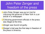 john peter zenger and freedom of the press