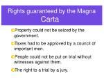 rights guaranteed by the magna carta