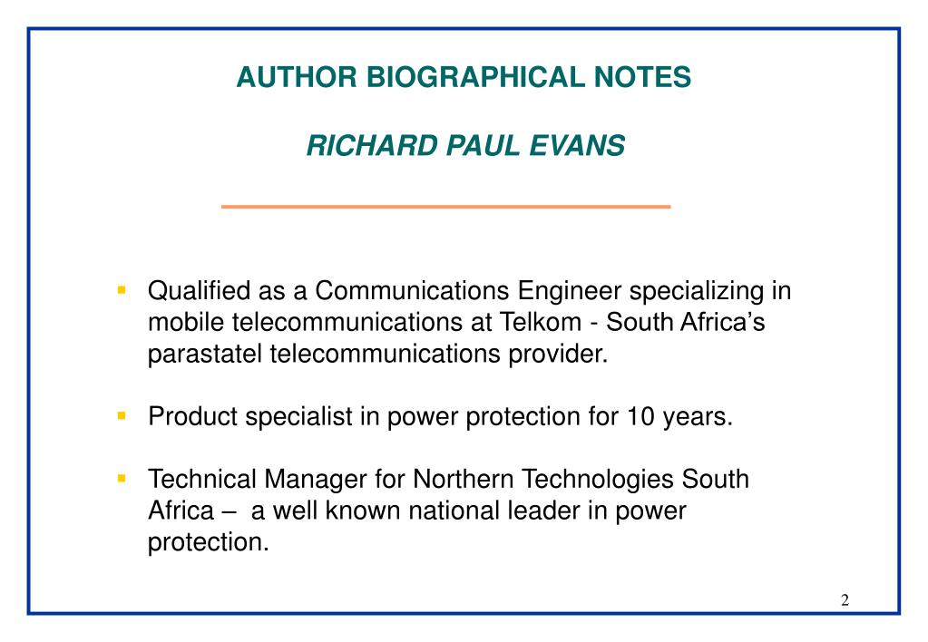 AUTHOR BIOGRAPHICAL NOTES