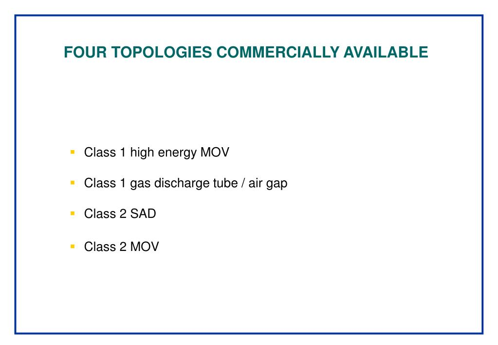 FOUR TOPOLOGIES COMMERCIALLY AVAILABLE