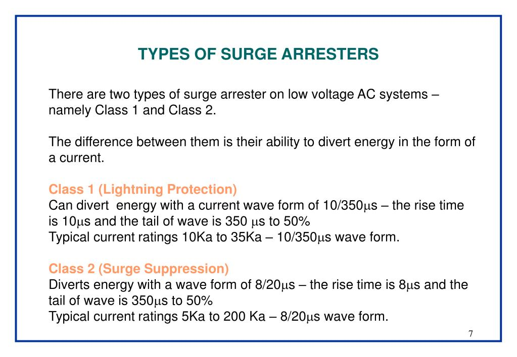 TYPES OF SURGE ARRESTERS