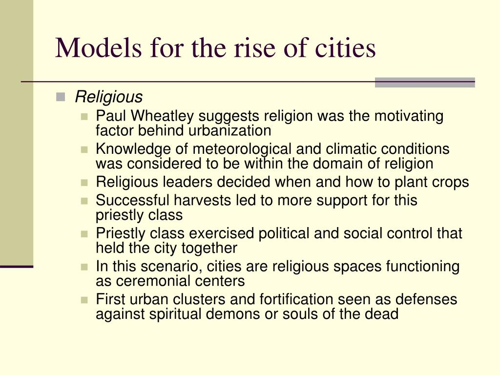 Models for the rise of cities