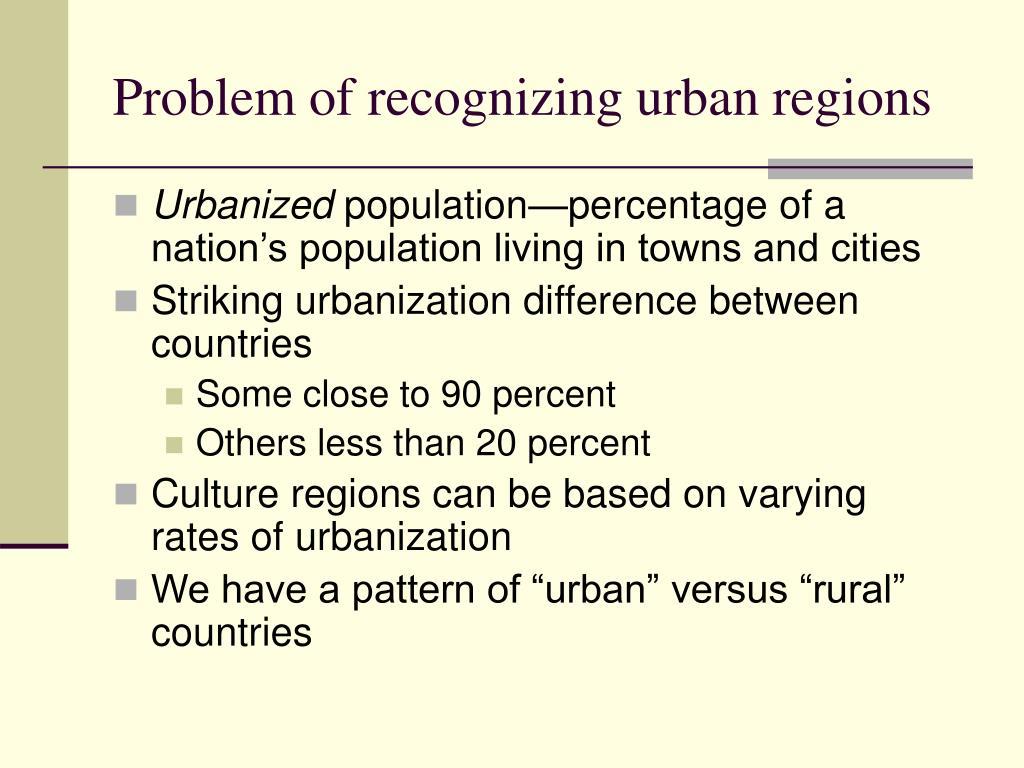 Problem of recognizing urban regions
