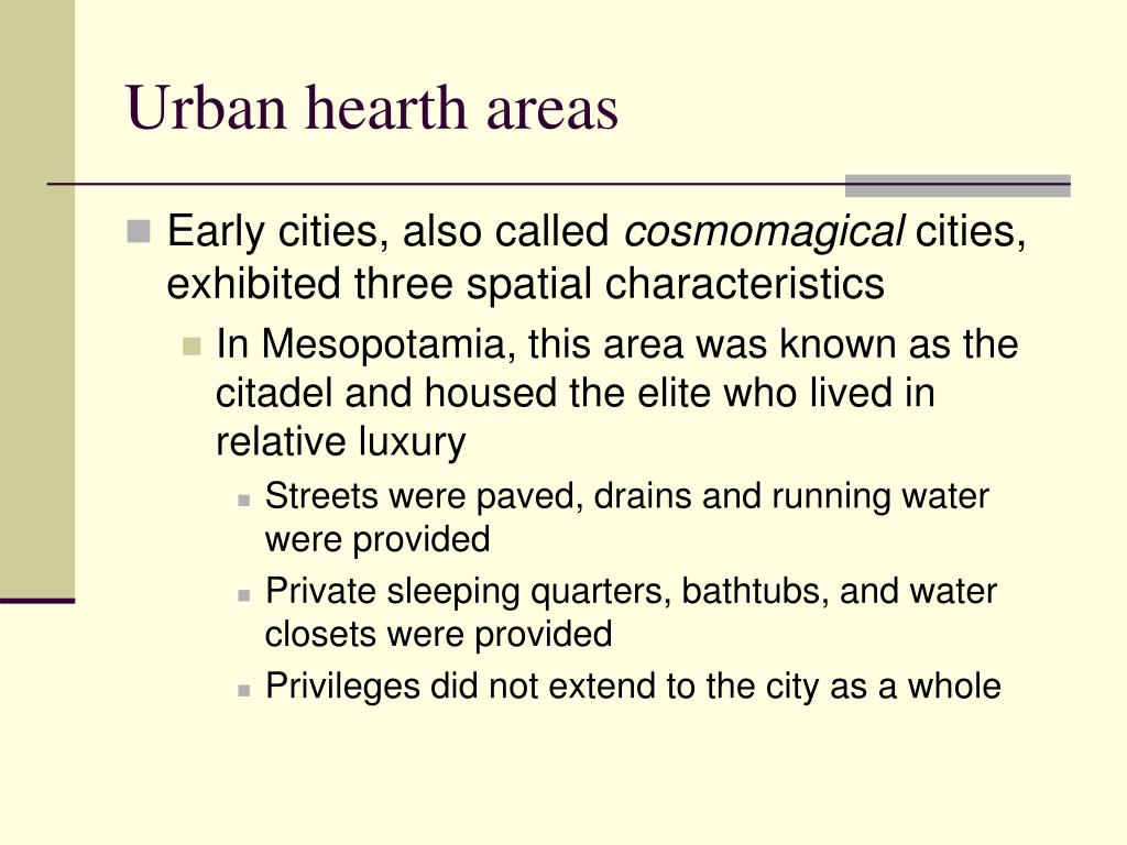 Urban hearth areas