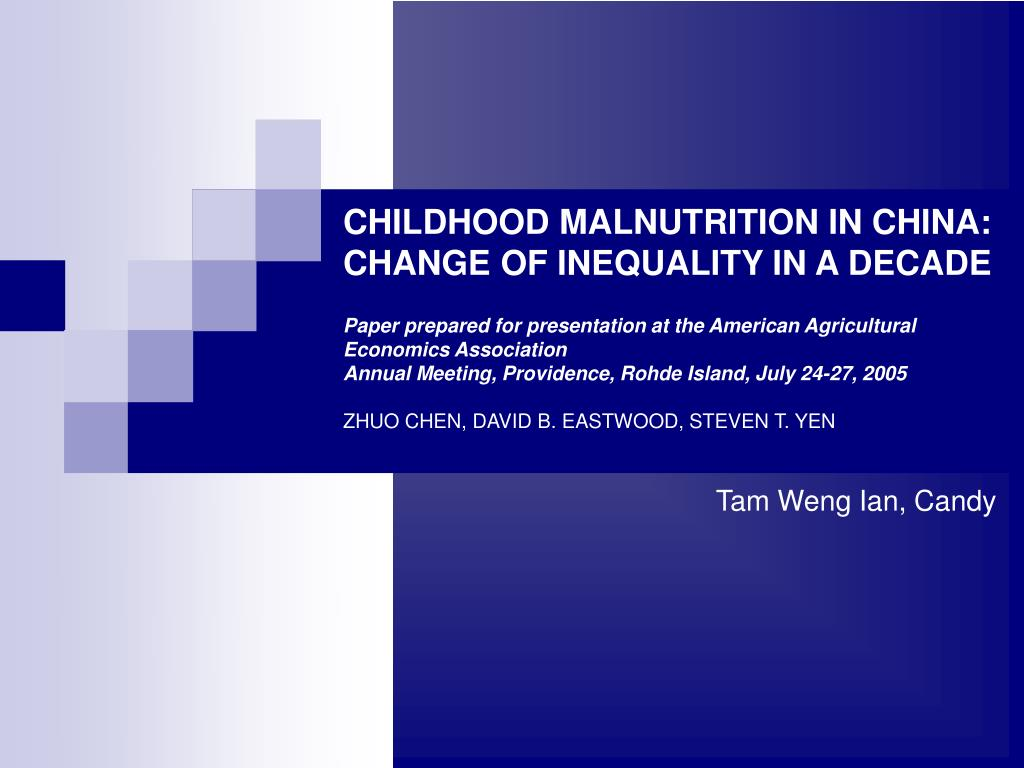 CHILDHOOD MALNUTRITION IN CHINA: CHANGE OF INEQUALITY IN A DECADE