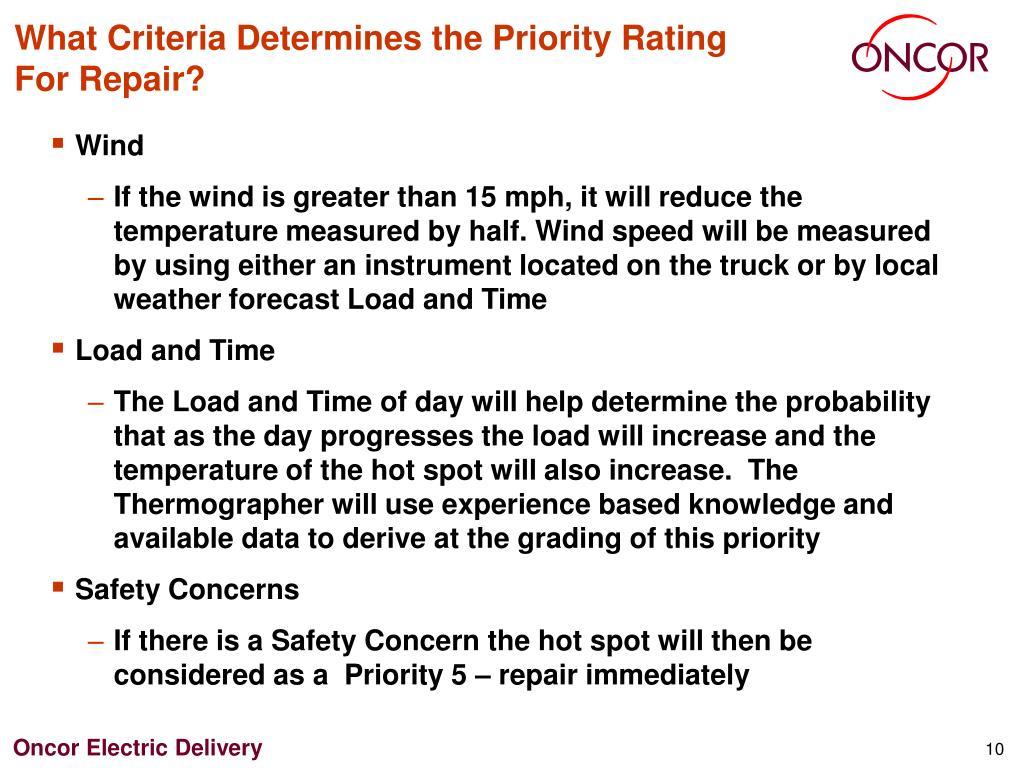 What Criteria Determines the Priority Rating For Repair?