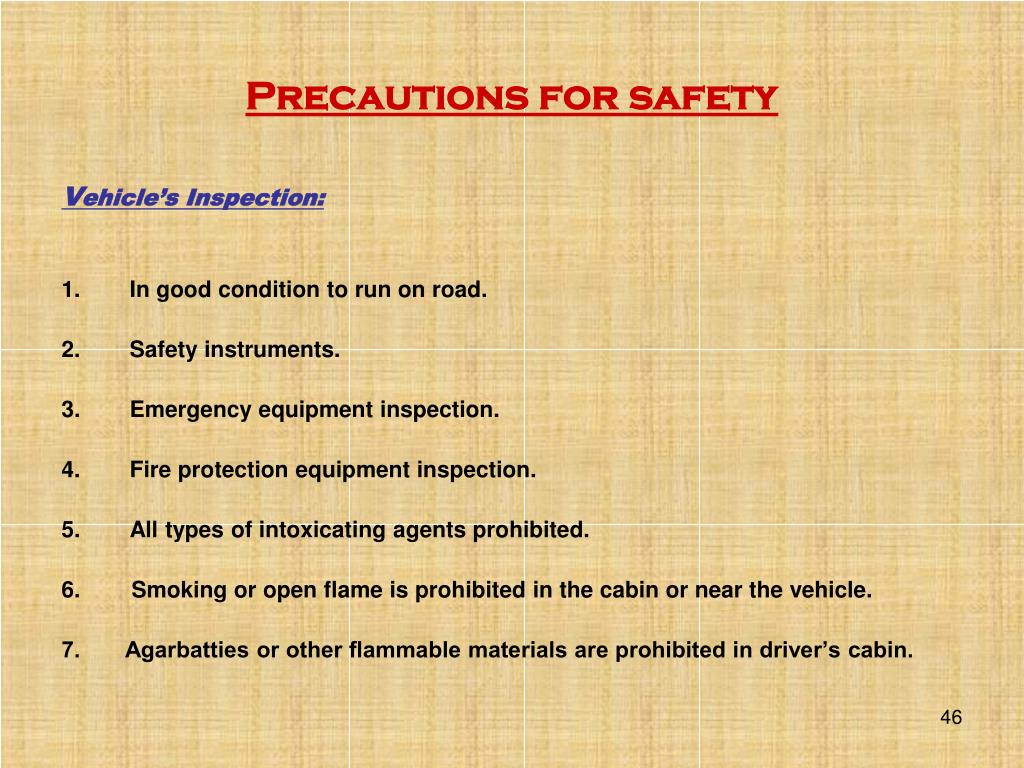 Precautions for safety