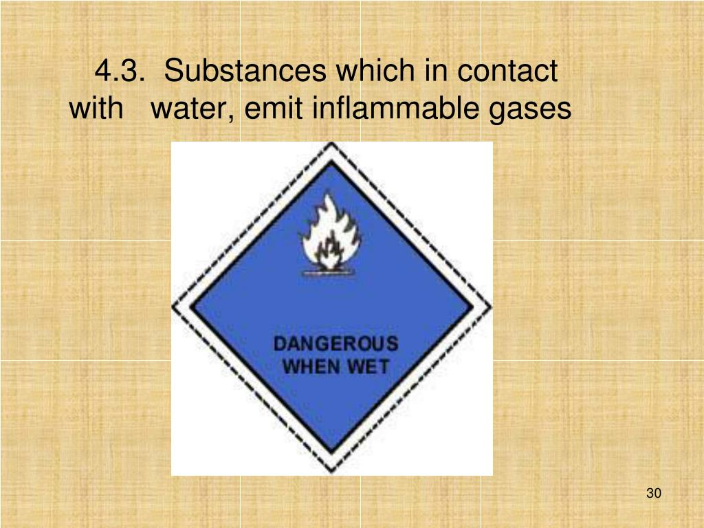 4.3.  Substances which in contact with   water, emit inflammable gases