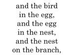 and the bird in the egg and the egg in the nest and the nest on the branch