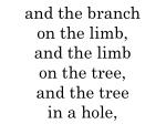 and the branch on the limb and the limb on the tree and the tree in a hole